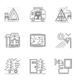 Hiking and camping thin flat line icons set vector image