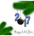 Hockey puck and 2017 on a Christmas tree branch vector image