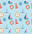 seamless pattern of marine theme set vector image