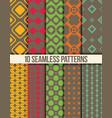 Ten seamless geometric patterns vector image