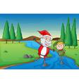 a santa claus and a boy vector image vector image