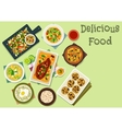 Indian cuisine spicy dishes for lunch icon vector image