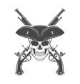 Evil captain skull in cocked hat template vector image