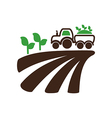 Tractor field harvest seedling icon Farm vector image