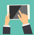 business hand holding tablet and touch to screen vector image