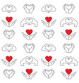 hand and heart pattern vector image