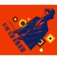 JAZZ Man Playing the Piano Hand Drawn Sketch vector image