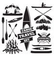 Set of canoe and kayak design elements Two man in vector image