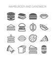 Set of simple icons with hamburgers sandwiches vector image