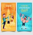 strongman and snake charmer on circus banner vector image