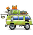 Travel Car with Camping Accessories vector image