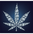 Cannabis leaf made a lot of from diamonds vector image