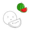 Educational game coloring book watermelon fruit vector image