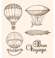 Set of vintage hand drawn air balloons vector image