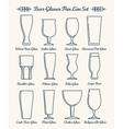 Beer glassware line icons vector image