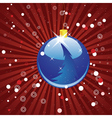 Blue Christmas ball on red background vector image