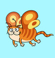 cartoon fairy orange cat flight vector image