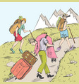 comic strip tired travelers climb a mountain vector image
