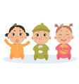 cute set of triplets babies baby girl boy vector image