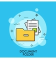 Document folder flat design thin line banner vector image