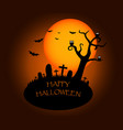 halloween background with silhouettes of graveyard vector image