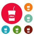 juice icons circle set vector image