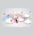 light bulb balloon on watercolor sky idea concept vector image