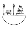 park with bench lamps and fountain icon image vector image