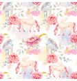 watercolor unicorn and pegasus pattern vector image