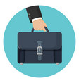 briefcase in businessman hand vector image vector image