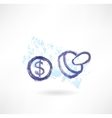 Dollar simbol grunge icon vector image vector image