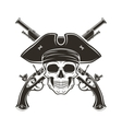 Jolly Roger skull in cocked hat  Evil vector image