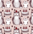 Sketch Birthday pattern vector image