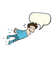 cartoon drenched man flying with speech bubble vector image