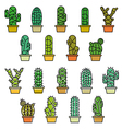Cactus collection in line vector image vector image