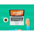 Person freelancer hands working on computer vector image vector image