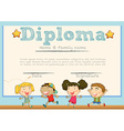 Diploma template with children in background vector image