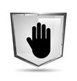 hand symbol shield steel icon vector image
