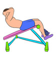 man doing abs crunches on the bench icon cartoon vector image