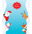 Santa Claus Snowman And Animals On Frame vector image