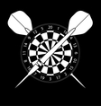 Dartboard with darts on black background vector image