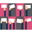 Flat design of hands holding paper with copy space vector image