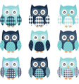 Navy and Aqua Cute Owl set vector image vector image