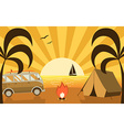 Summer Beach Campground Scene With Camper Van and vector image