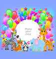 birthday party cute animal frame your baby photo vector image