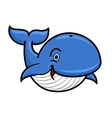 Blue baleen whale cartoon character vector image