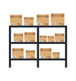 cardboard boxes on warhouse shelves carton vector image