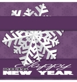 Holiday card with snowflakes and says Happy new vector image