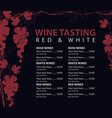 menu for wine tasting patterned bunch of grapes vector image