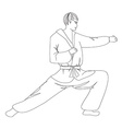simple sketch of a man doing martial arts vector image